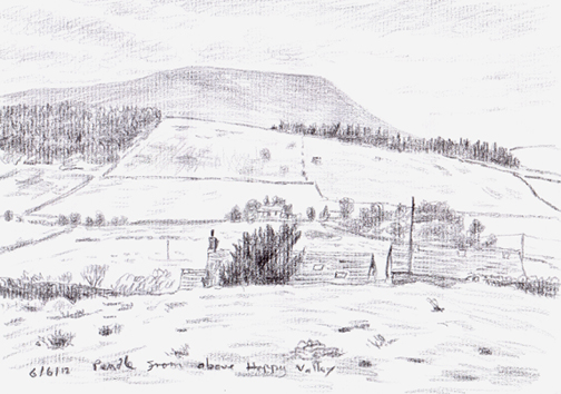 Pendle Hill from above Happy Valley, Roughlee, Lancashire. Sketch: KeithMelling