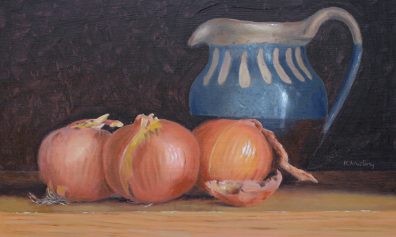 Still Life with Onions and Sandsend Jug. Painting by Keith Melling