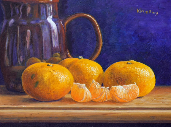 Still Life with Satsumas and Lead Glazed Jug. Painting by Keith Melling