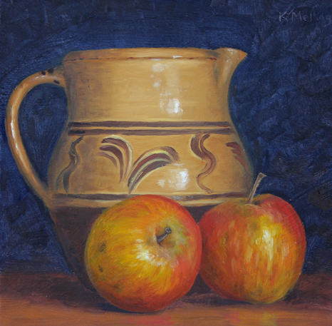 Two Apples and Slipware Jug  - Still Life. Painting: Keith Melling