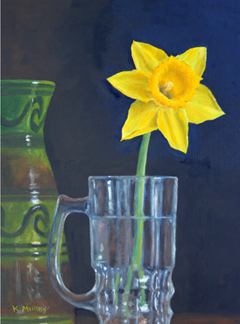 Still Life with Daffodil, Glass and Austrian Slipware Vase. Painting by Keith Melling