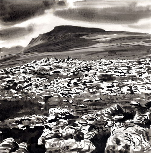 Grey Scars & Ingleborough. Artist Keith Melling