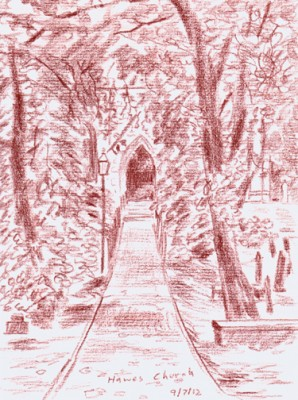 Steep path to Hawes Church, Wensleydale, Yorkshire Dales. Sketch: Keith Melling