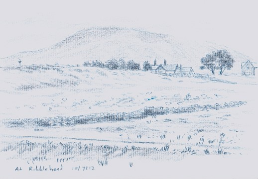 View to Park Fell from Ribblehead, Yorkshire Dales. Sketch: Keith Melling