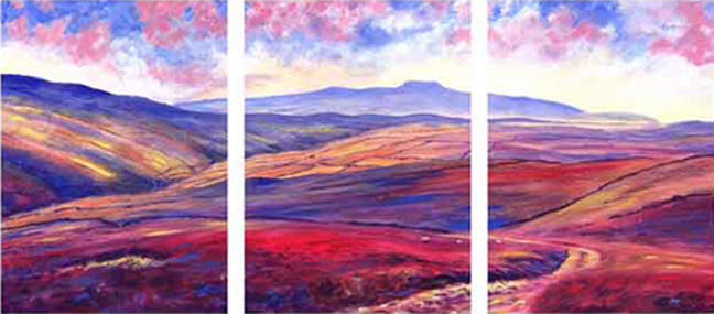Above Foxup, distant Ingleborough from Horsehead Pass. Painting by Keith Melling
