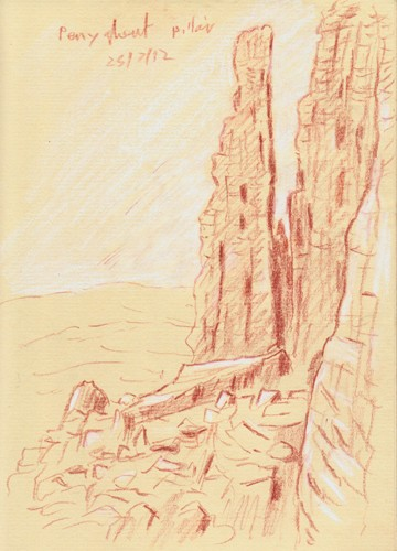 The limestone pillar on Pen-y ghent Crags, Horton-in Ribblesdale, Yorkshire Dales. Sketch: Keith Melling