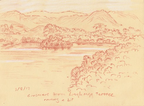 Grasmere from Loughrigg Terrace. Lakeland. Sketch: Keith Melling
