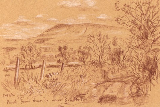 Pendle from Green Lane above Grindleton, Lancashire. Sketch: Keith Melling
