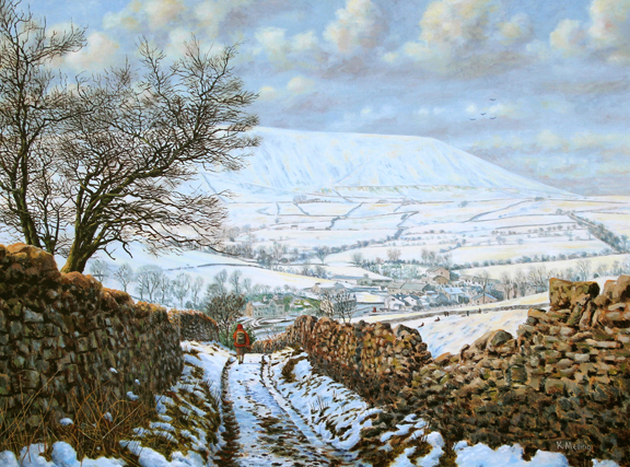 Heys Lane Winter, Pendle. Painting Keith Melling