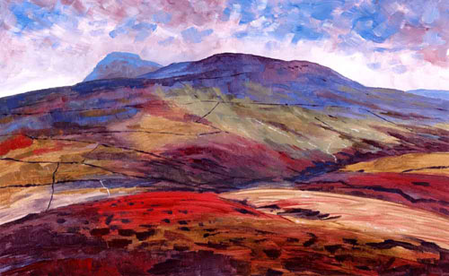 Plover Hill and Pen-y-ghent from Horse Head Pass, Yorkshire Dales. Painting Keith Melling