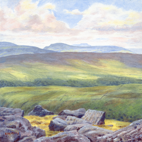 Across Wharfedale to Penyghent and Ingleborough from Gt. Whernside - Yorkshire Dales. Painting: Keith Melling
