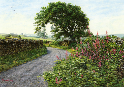 Summer Lane, Lake District. Painting Keith Melling