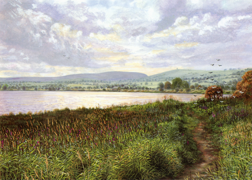 Lake Burwain, Foulridge, Lancashire. Painting : Keith Melling