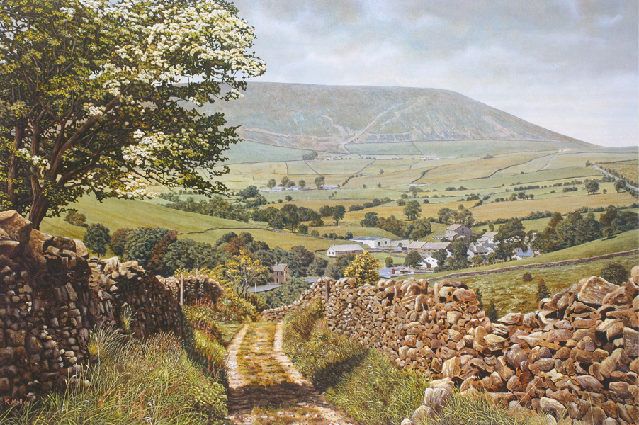 Pendle from Red Lane, Colne, Lancashire. Painting: Keith Melling