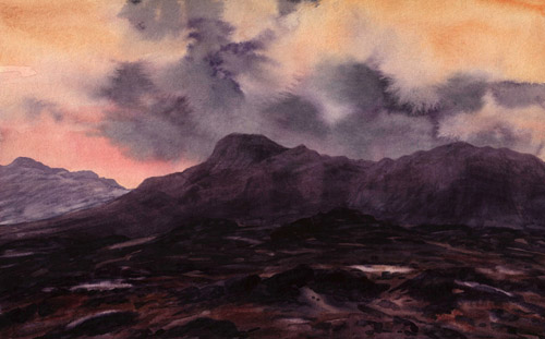 On Blea Rigg, Dusk Over the Langdale Pikes  -  Lake District. Keith Melling