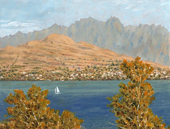 The Remarkables from Queenstown, New Zealand. Painting: Keith Melling