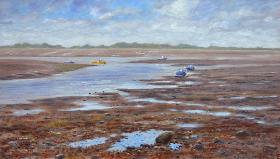 Low tide at Ravenglass. Painting:Keith Melling
