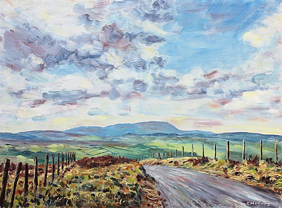 Pendle from above Ickornshaw near Cowling, Yorkshire. Painting by Keith Melling