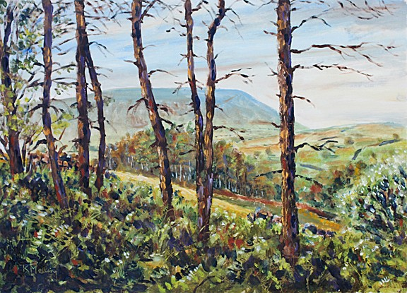 Pendle Hill from Boothman Wood. Painting: Keith Melling