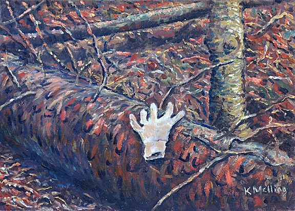 Glove found in Fell Wood, Barley, Lancashire. Painting. Keith Melling