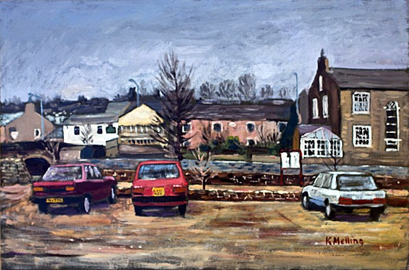 Heitage Centre car park, Barrowford, Lancashire. Painting: Keith Melling