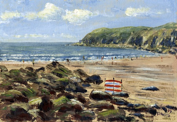 Caerfai Bay Beach, St. Davids II, Wales. Painting. Keith Melling