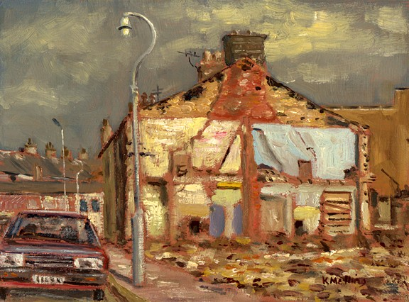 Demolition on Clayton Street, Nelson, Lancashire. Painting by Keith Melling