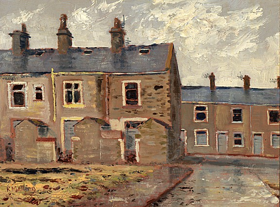 Demolition area near Clayton Street, Nelson, Lancashire. Painting by Keith Melling