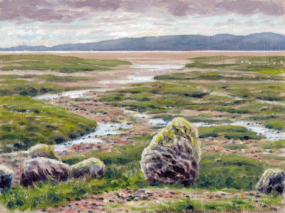 Looking across To Bardsey from Sandgate Salt Marsh, Flookburgh, Cumbria. Painting: Keith Melling