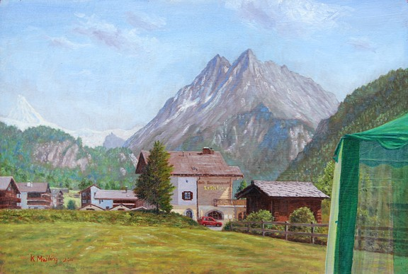 View from Evolene campsite, Switzerland. Painting: Keith Melling