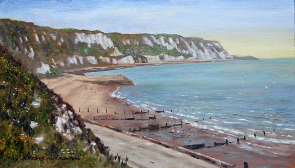 Warren Beach, Folkestone. Painting by Keith melling