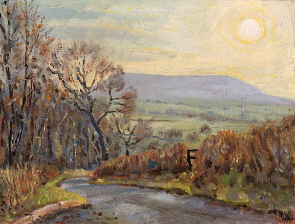 Pendle from Cross Hill Lane, near Rimington, Lancashire. Painting: keith melling