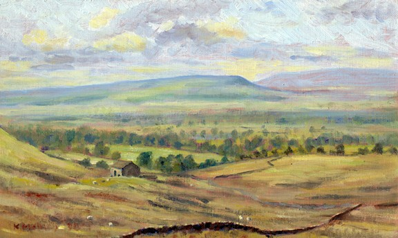 Longridge Fell from the Nick o' Pendle, near Sabden, Lancashire. Painting: Keith Melling