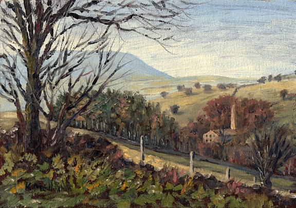 Pendle Hill and Narrowgates Mill from Boothman Wood, Barley, Lancashire. Painting: Keith Melling