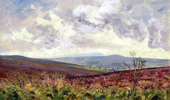 On Pinhaw looking towards Pendle and Weets Hill. Painting: Keith Melling