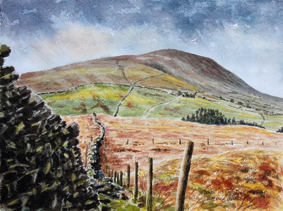 Pendle from Top o' Lingbobs. Painting by Keith Melling