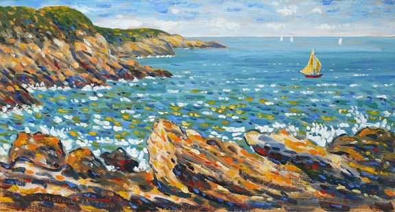 Rocks at Saint-Lunaire, France. Painting by Keith Melling