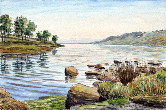 Widdop Reservoir, Yorkshire. Painting by Keith Melling
