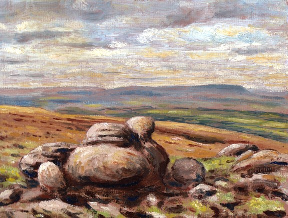 Pendle Hill from Boulsworth, Lancashire. Painting: Keith Melling