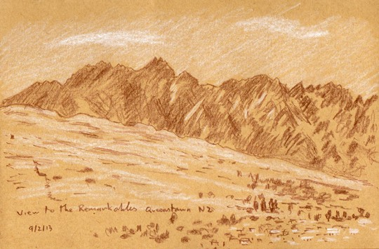 The Remakables from Queenstown, New Zealand. Sketch: Keith Melling