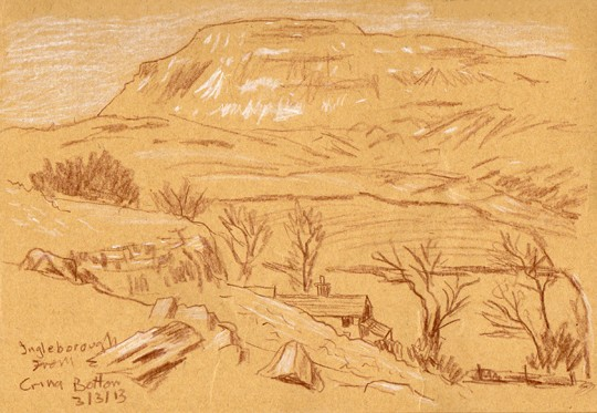 Ingleborough from Crina Bottom. Sketch by Keith Melling