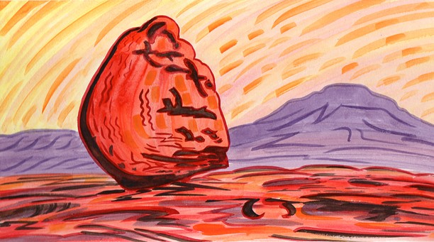 Erratic boulder and Ingleborough, Twisleton Scars. Painting: Keith Melling