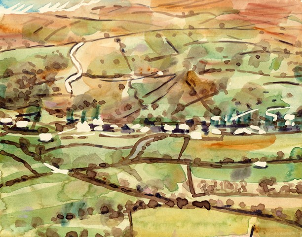 Across the Troutbeck Valley from the Garburn Road. Painting: Keith Melling