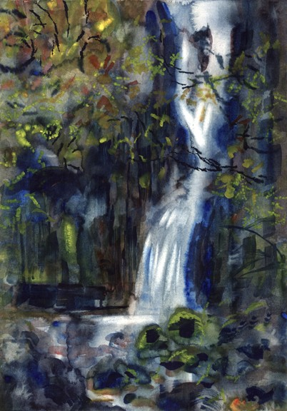 Catrigg Force Dusk, Ribblesdale. Painting: Keith Melling