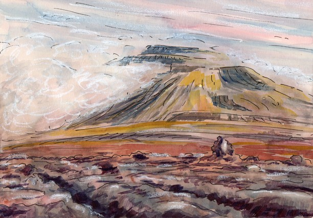 Ingleborough and White Scars, Yorkshire Dales. Painting: Keith Melling