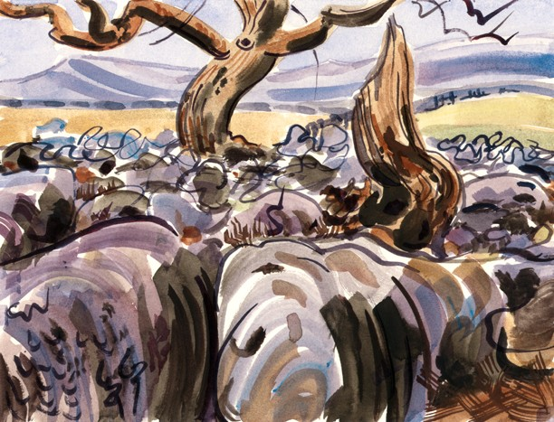 Limestone Pavements above Conistone Dib. Painting Keith Melling