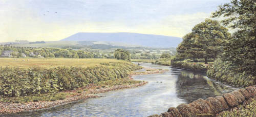 River Ribble and Pendle Hill from Sawley. Painting: Sam Melling