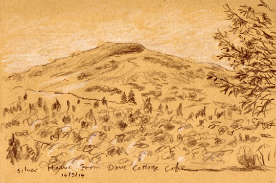 Silver Howe from Dove Cottage, Grasmere, Lakeland. Sketch: Keith Melling