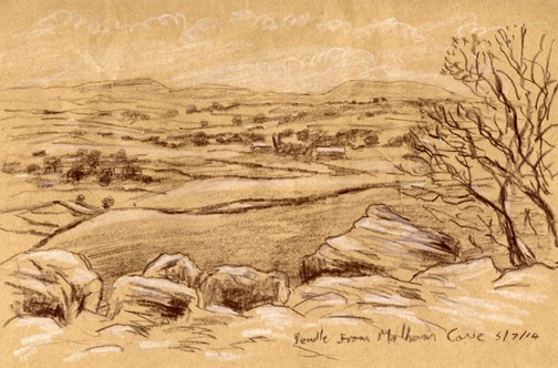 Distant Pendle from Malham Cove, Yorkshire Dales. Sketch: Keith Melling