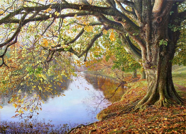 Autumn on the River Wharfe, Yorkshire Dales. Painting: Keith Melling